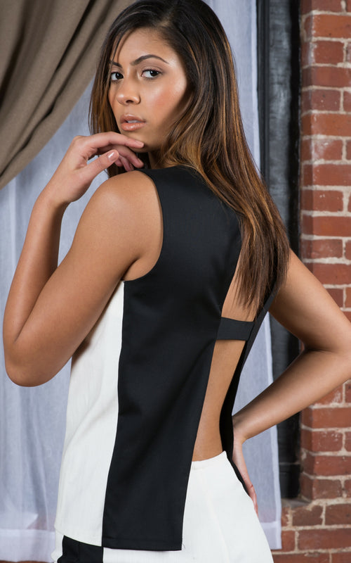 Back Black-N-White Open Back Top