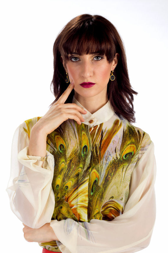 Kaira Long Sleeve Silk Blouse - Angelica Timas