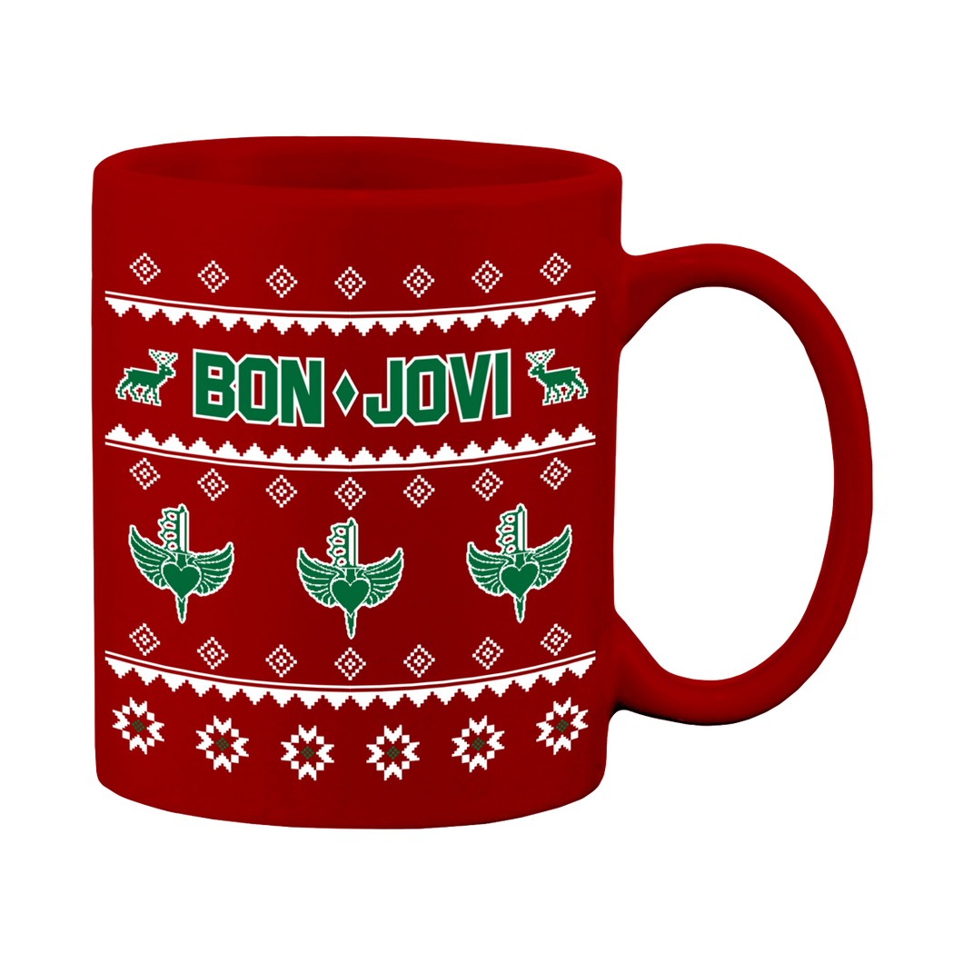 Bon Jovi Christmas Sweater Print Coffee Mug