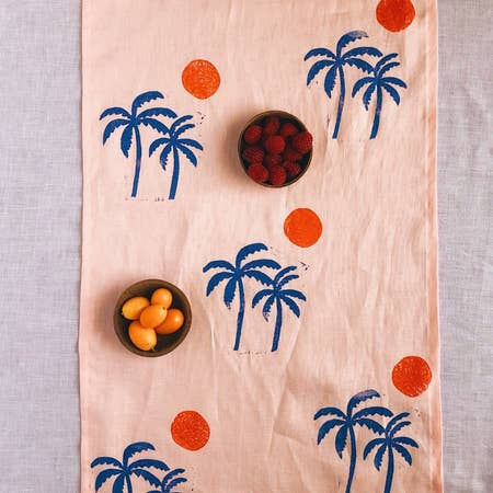 Palm Sunset Hand-Printed Table Runner