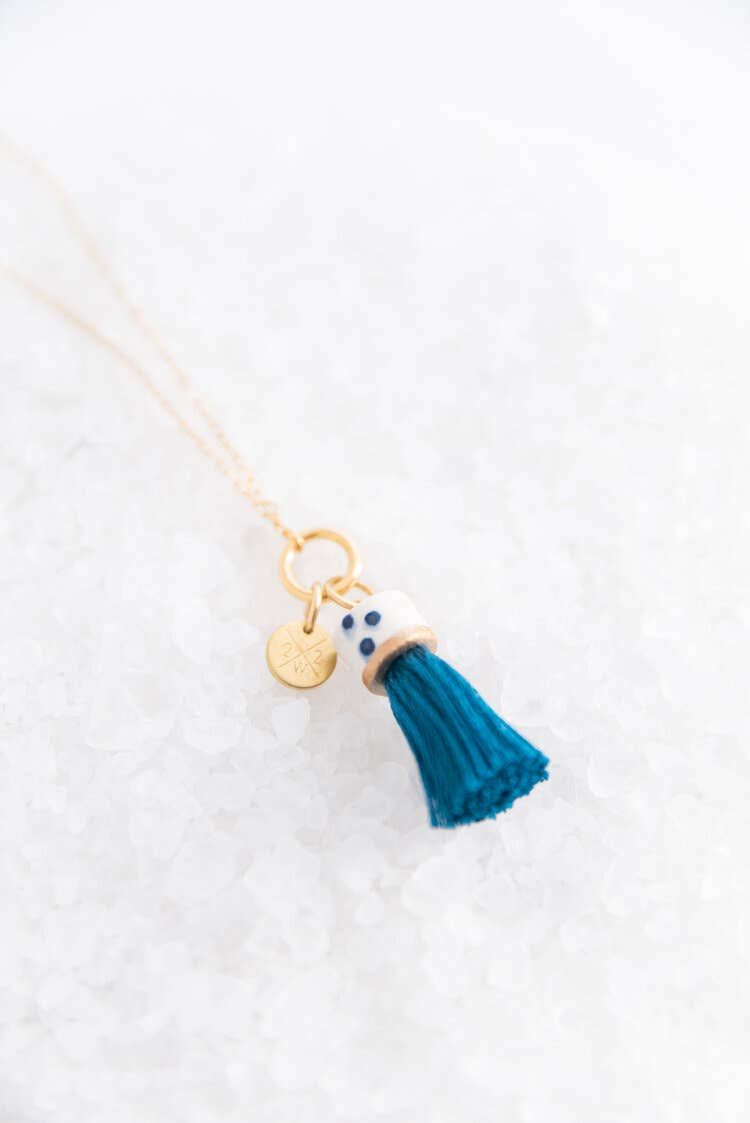 Jade Mini Topped Tassel Necklace