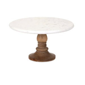 Marble Top Wood Cake Stand