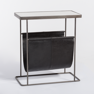 Leather Sling Accent Table, Black