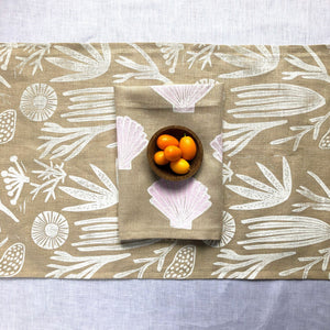 Sea Things Hand-Printed Table Runner