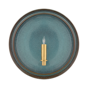 Teal Ceramic Plate Sconce