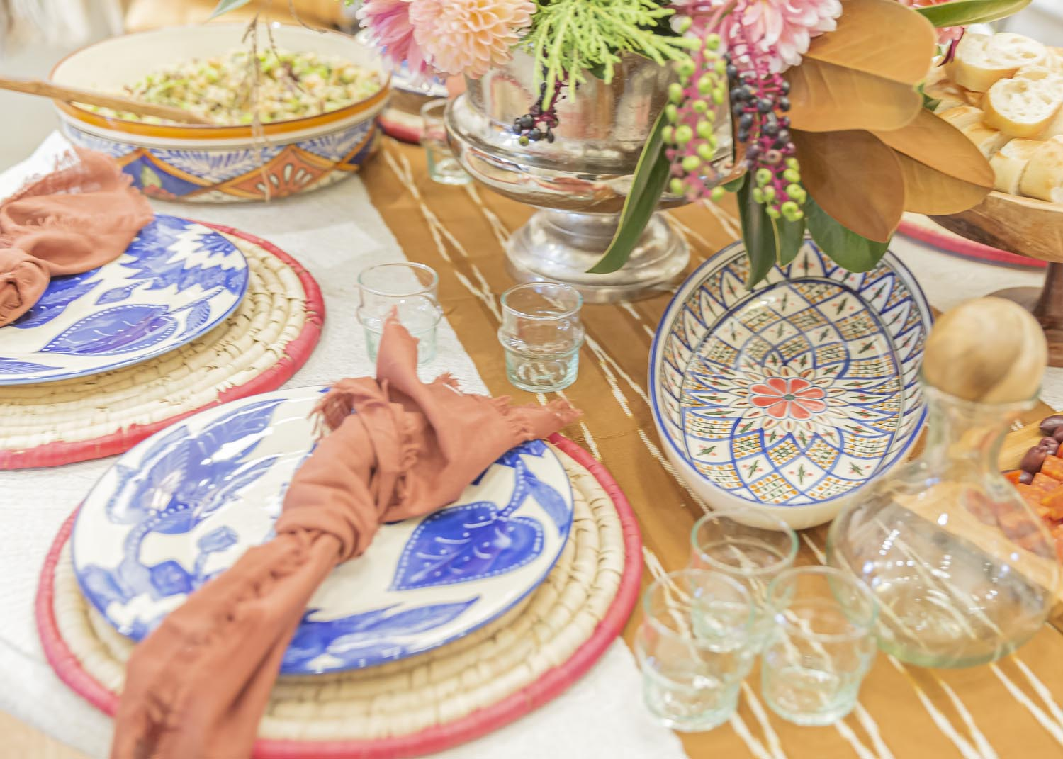 Hand-Woven Grass Placemat with Pink Trim