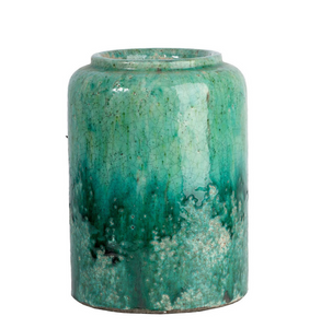 Crackled Teal Ombre Terracotta Vase Large