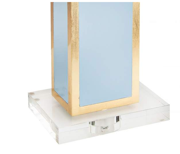 High Gloss Blue & Gold Leaf Table Lamp
