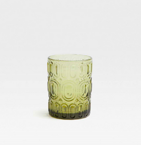 Olive Green Glass Tumbler, Pair