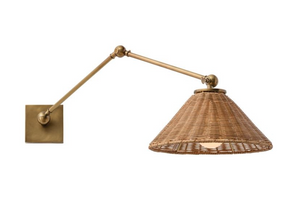 Rattan Swing Arm Sconce
