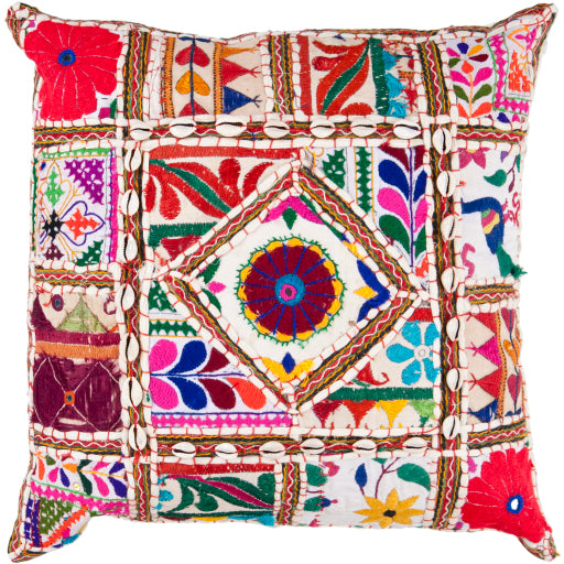 "Patchwork Embroidered 22"" Pillow"