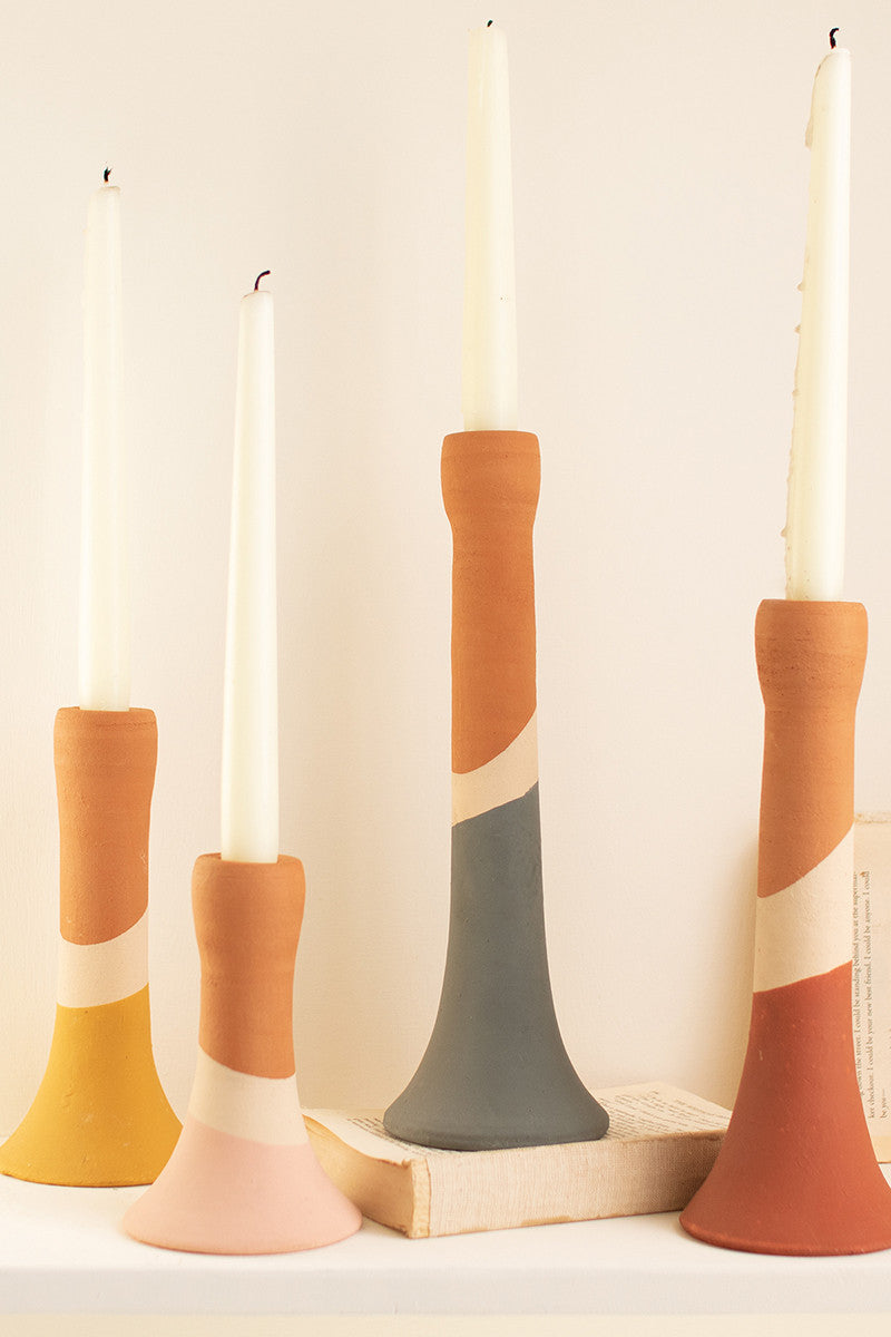 Clay Multi-Color Striped Taper Candle Holder