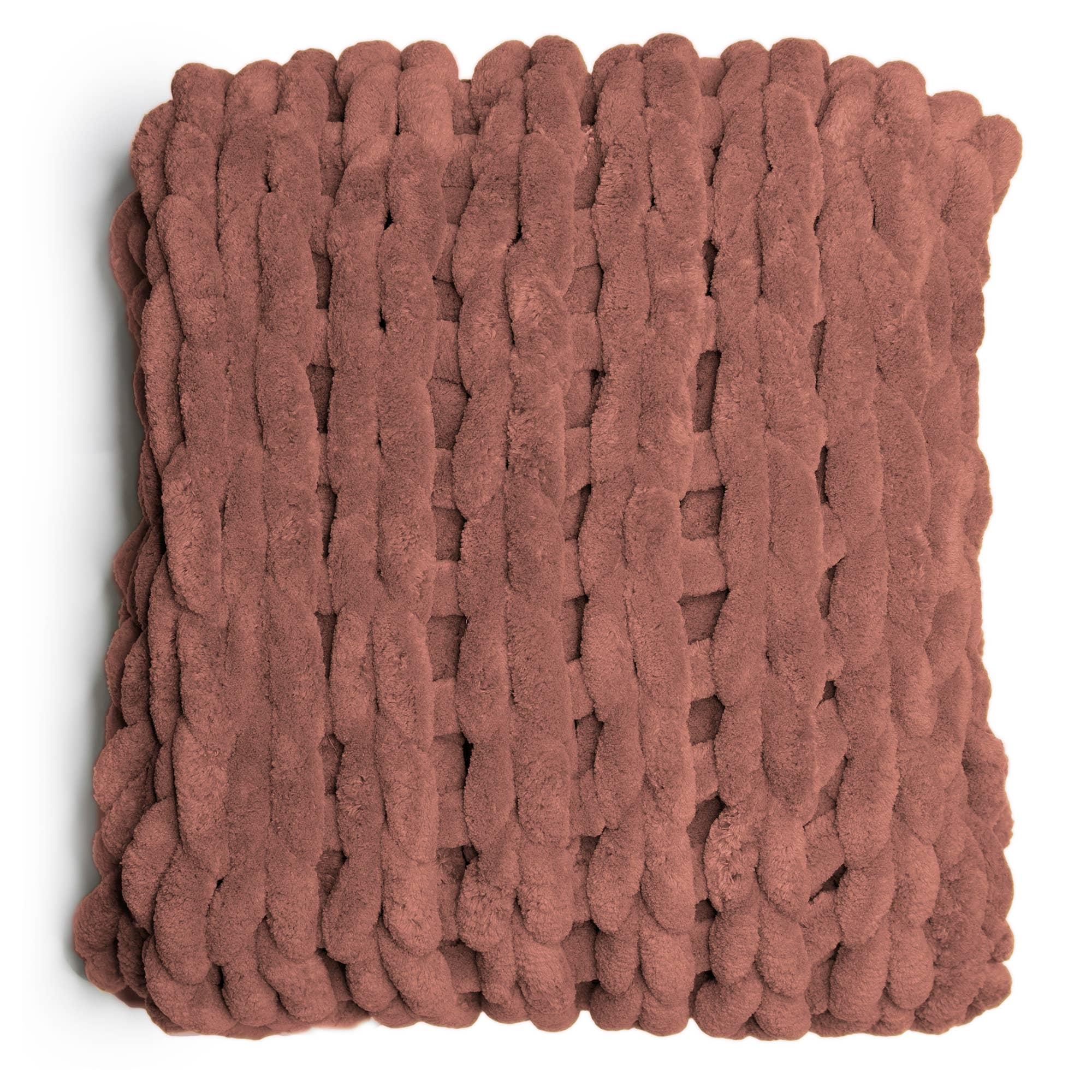 Chenille Chunky Knit Throw - Rose