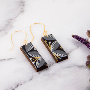 Black + Gold Mod Floral Rectangle Earrings