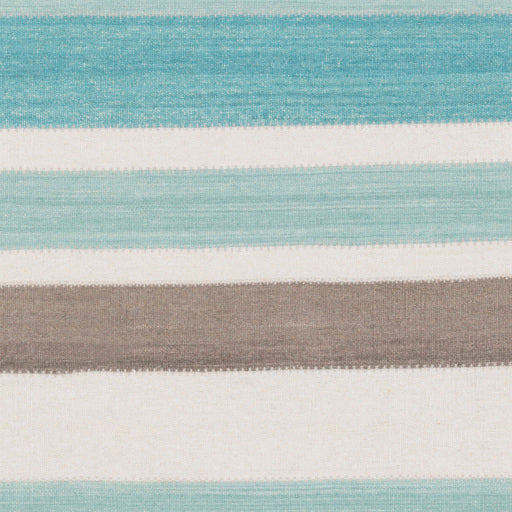 "Aqua Striped Wool Runner, 2'6""x8'"