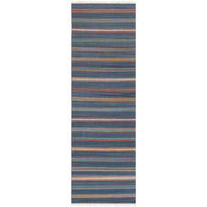 Navy & Rust Striped Runner