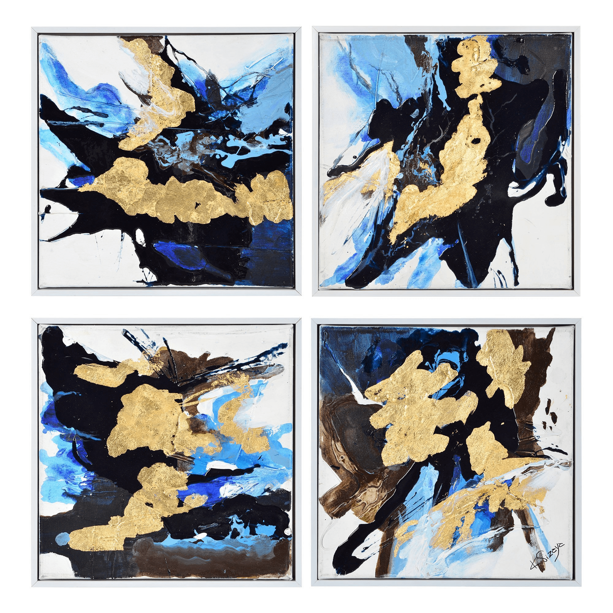 Blue Black & Gold Painting