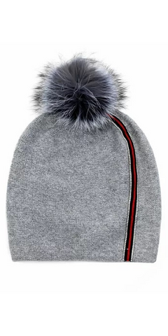 Ribbon Stripe Knit Hat with Fox Pom in Grey