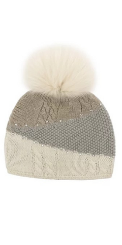 Colorblock Knit Hat in Beige