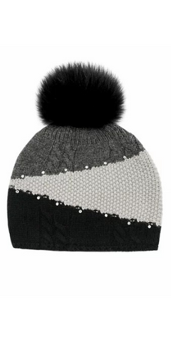 Colorblock Knit Hat in Black