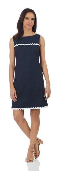 Hattie Dress in Navy/White