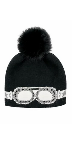 Sparkle Sunglass Hat with Fox Pom in Black