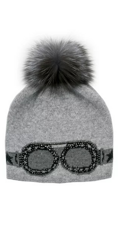 Sparkle Sunglass Hat with Fox Pom in Grey