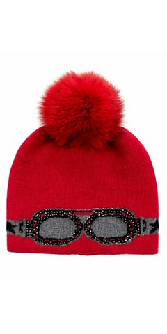 Sparkle Sunglass Hat with Fox Pom in Red