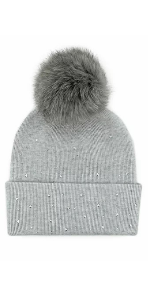 Stars Knit Hat with Fox Pom in Grey