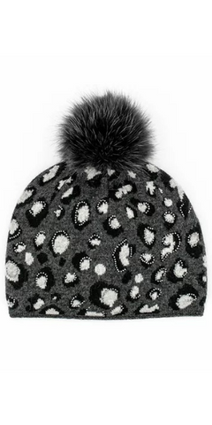 Animal Print Fox Pom Hat in Black