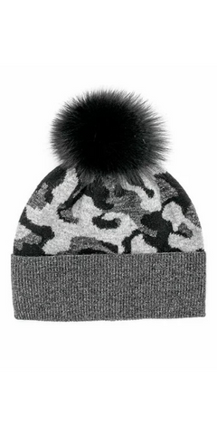 Camo Fox Pom Hat in Black
