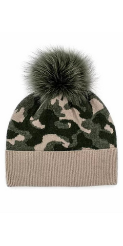 Camo Fox Pom Hat in Khaki
