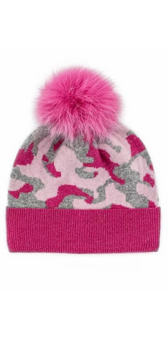 Camo Fox Pom Hat in Pink