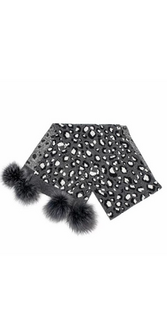 Animal Print Pom Scarf in Black