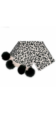 Animal Print Pom Scarf in Pearl