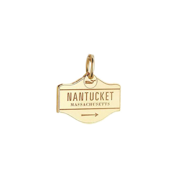 Nantucket Street Sign Bracelet Charm in Gold Vermeil