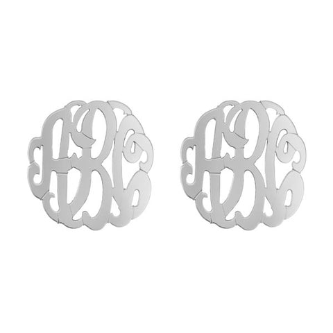 Script Monogram Post Earrings in Sterling Silver