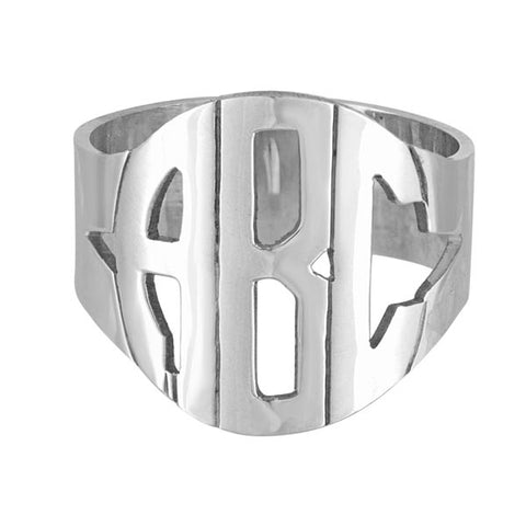 Sterling Silver Hand Cut Block Monogram Ring