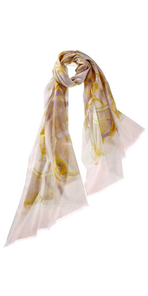 Cinta Featherweight Cashmere Scarf in Blossom/Camel