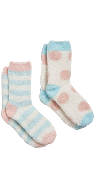 Fabulously Fluffy Shortie Sock 2-Pack in Blue Stripes