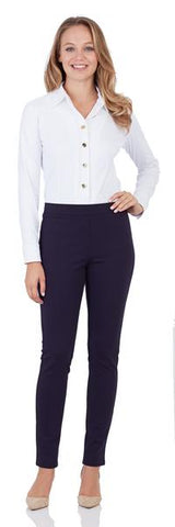 Olivia Ponte Skinny Ankle Pant in Dark Navy
