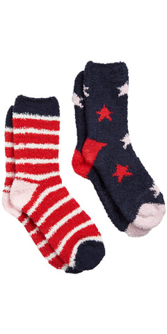 Fabulously Fluffy Shortie Sock 2-Pack in Navy Star