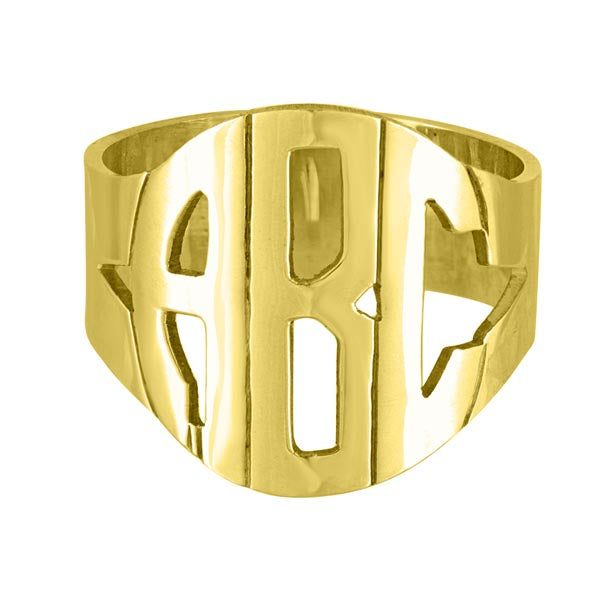 Gold Hand Cut Block Monogram Ring