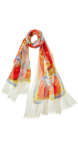Cinta Featherweight Cashmere Scarf in Ivory/Coral
