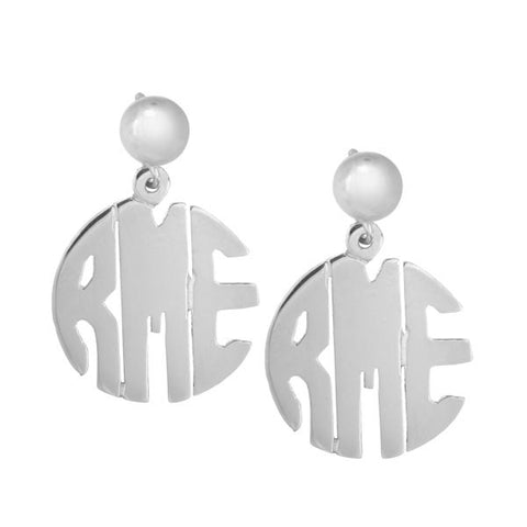 Block Monogram Hand Cut Earrings in Sterling Silver