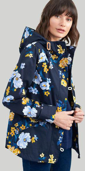 Coast Print Waterproof Jacket in Navy Bouquet by Joules
