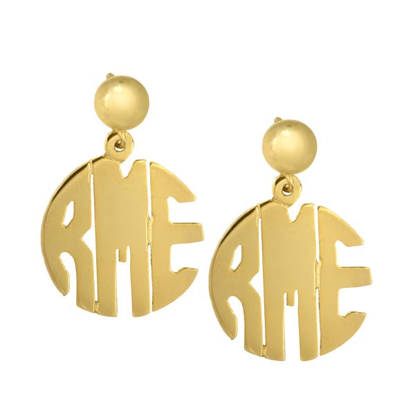 Block Monogram Hand Cut Earrings in Gold