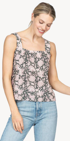 Square Neck Tank in Mineral Block Print