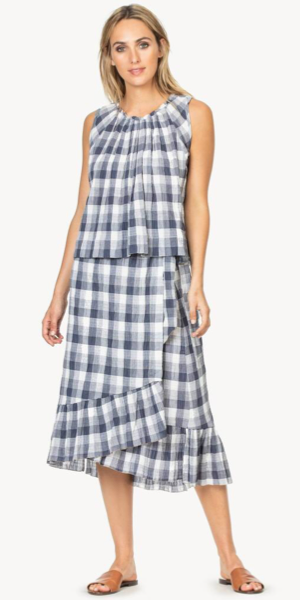 Wrap Checked Skirt in Ink