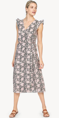 Wrap Dress in Mineral Block Print